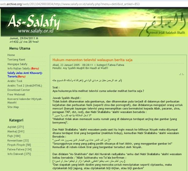 Fatwa Salafy Tak boleh nonton Tv meskipun hanya berita