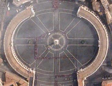 Lapangan Santo Petrus (Saint Peter Square) di depan Basilika Santo Petrus, Vatikan