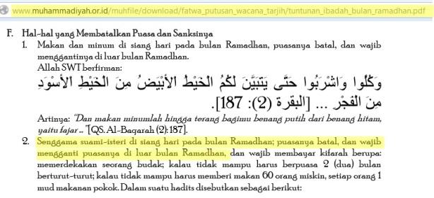 Fatwa Muhammadiyah Batalnya puasa seorang yang bersenggama
