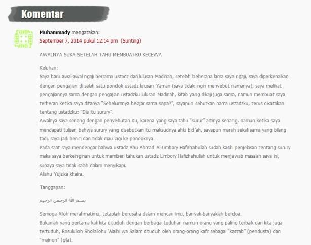 Cerita seorang Jamaah yang di labeli Surury oleh Ust. Salafy lain