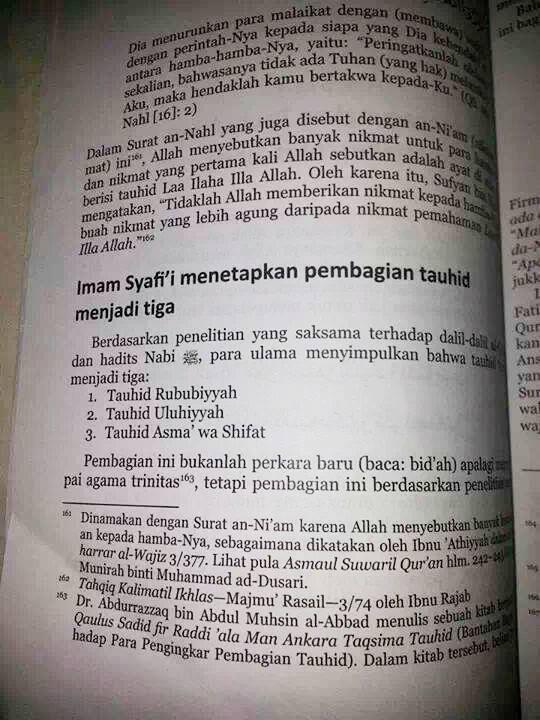 Pencatutan nama Imam Syafi'i demi melegalkan konsep TriTauhid Salafy-Wahabi