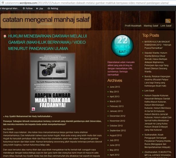 hukum dakwah salafy melalui media tv video gambar adalah haram mutlak