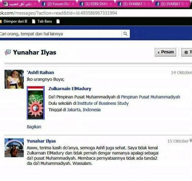 Screenshoot tulisan Yunahar Ilyas salah satu pengurus Muhammadiyah