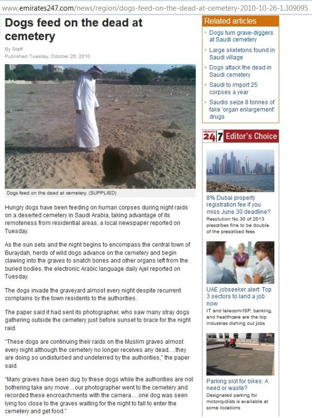 Mayat di pekuburan Saudi di makan Anjing (Na'udzubillah)