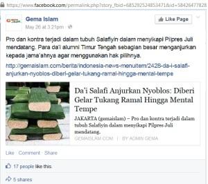 Dai Salafy yang anjurkan Nyoblos mental tempe & tukang ramal