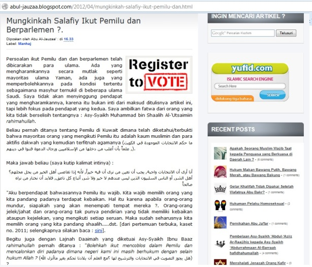 Anjuran mengikuti Pemilu menurut Salafy