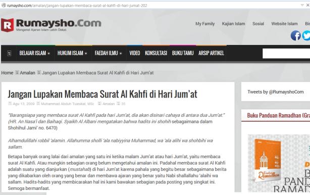 Dai Salafy menganjurkan pembacaan surat Al Kahfi di malam Jum'at