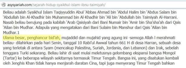 Sejarah Ibnu Taimiyah di web Salafy