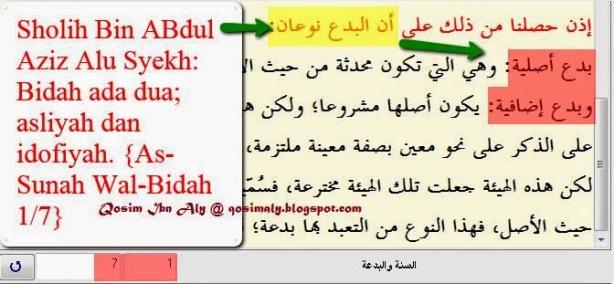Pembagian Bidah Fersi Sholih Bin Abdul Aziz