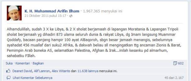 Pendapat Ust. Arifin Ilham tentang Qadafi