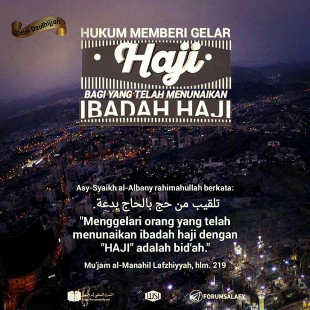 Gelar Haji di Bid'ahkan Wahabi