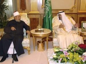 Saudi King Abdullah talks with leading Sunni cleric Youssef al-Qaradawi, President of the International Union for Muslim Scholars in Riyadh