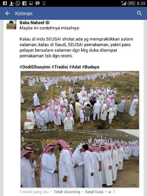 Bersalam-salaman sehabis pemakaman di arab saudi
