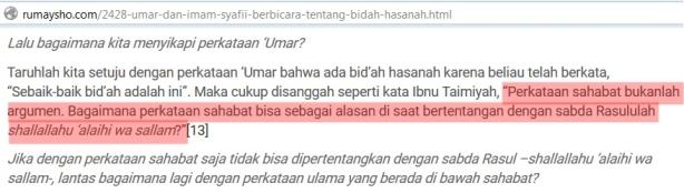 Sayyidina Umar Bid'ah Hasanah