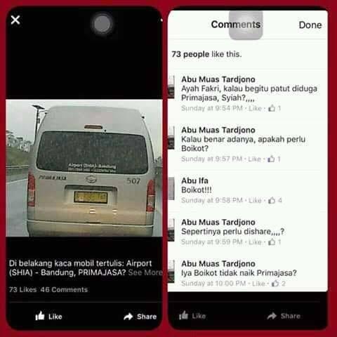 Damri, Express Taxi, Blue Bird, dan semua kendaraan umum yang menuju ke Bandara itu ada stiker SHIA semua...Boykot saja tuh semua