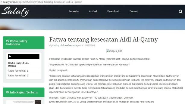 Kesesatan Aidh-AlQarni menurut Salafy